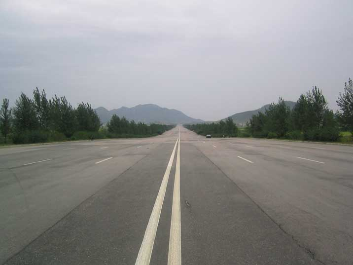 10 lane highway from Nampho to Pyongyang with almost no cars