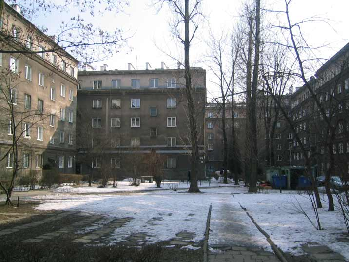 Gate to the inner courtyard of one of the 1950s housing estates in Socialist Realist architectural style in Nowa Huta