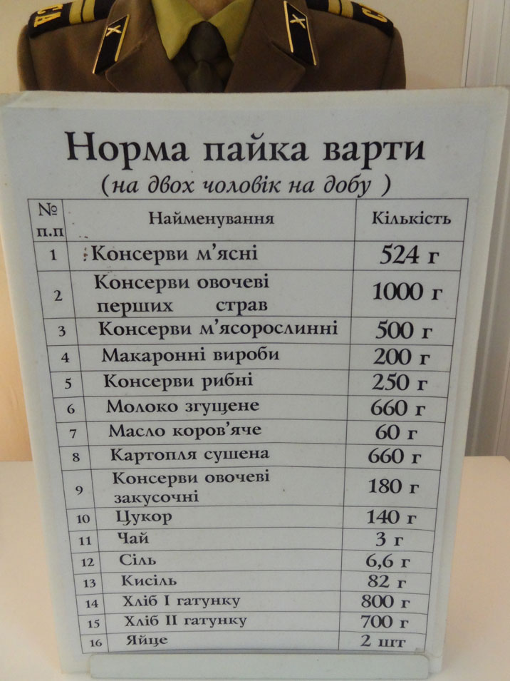 Pricelist for the food that was available on the base, the high prices suggest that this list dates to the early nineties