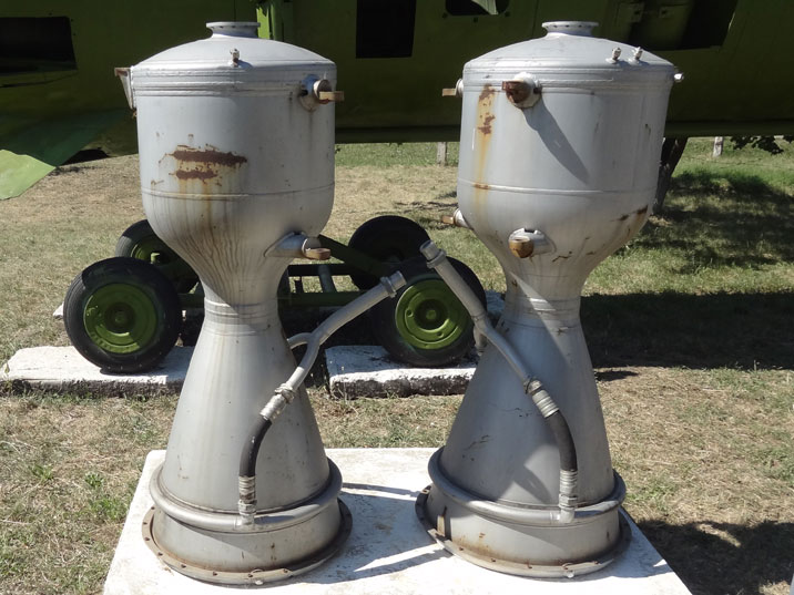 Two of the roar combustion chambers of the RD-214 rocket engine used in the R-12 ballistic missile