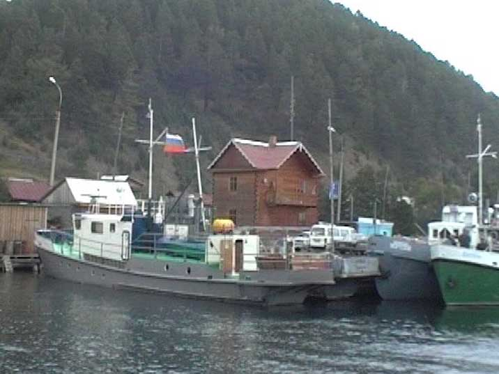 Soviet era fishing and leisure ships in the Listvyanka harbour
