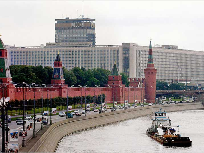 Hotel Russia dwarfing the Kremlin a site that is now gone forever