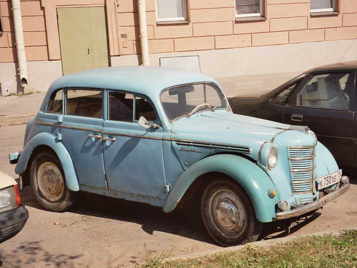 A Moskvitch 400 based on the pre-war Opel Kadett in St. Petersburg