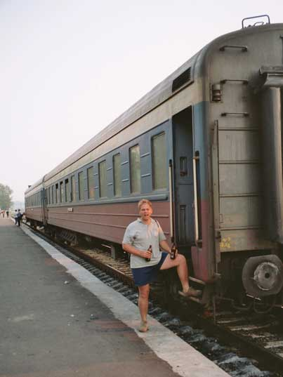 Our carriages are moved and then attached to a Mongolian train