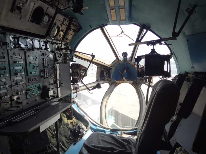 The Navigators station in the nose of the An-22, last use in 1999 when the aircraft flew from Kiev to the museum