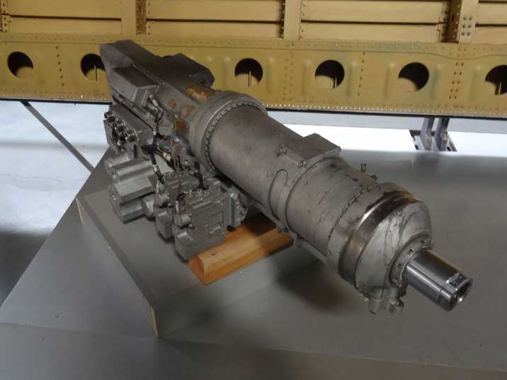 Hydraulic drive for one of the Buran rudders displayed in the exhibition with many Buran items