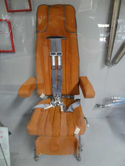 Actual pilot suit from the cockpit Buran Space Shuttle, later models would be fitted with ejection seats