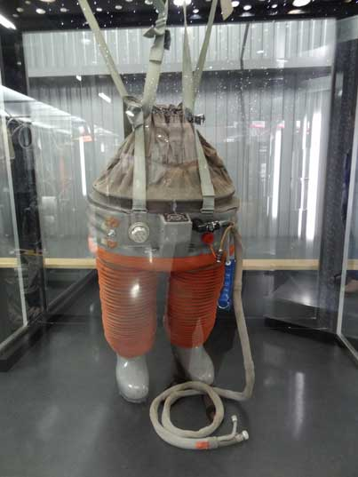 The Chibis Decompression Suit, used on the Salyut and Mir space stations pushed the blood back to the legs
