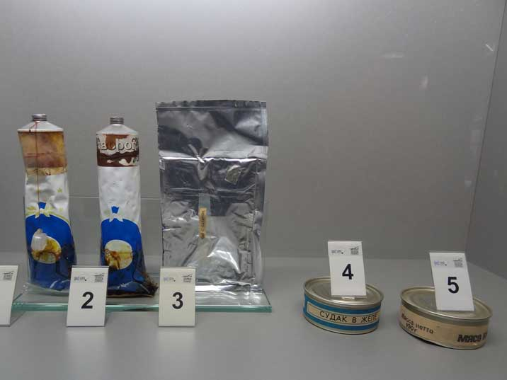 Soviet Cosmonaut food, 1: Cranberry juice, 2: Curd Puree, 3: Tea with sugar, 4: Sturgeon in jelly, 5: Chicken