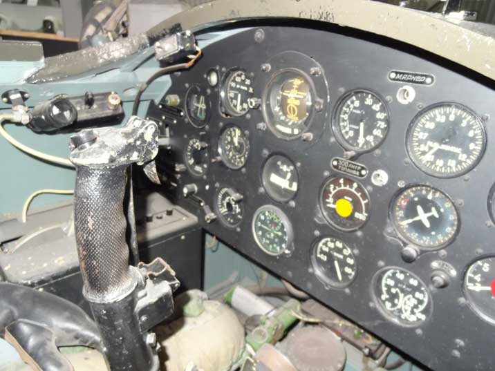 Instruments of the MiG-15 simulator used by students who learn to fly this early Soviet jet fighter