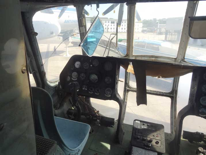 Cockpit of the Soviet Mi-8 Assault transport helicopter that was first produced in 1961 and used by over 50 countries