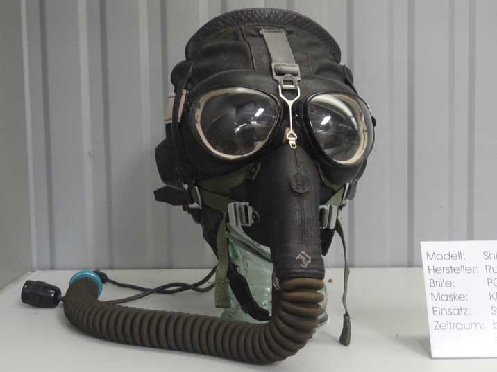 Soviet ShL-78/82 Pilot Helmet with PG-1M visor and KM-16 Mask used between 1982 and 1986