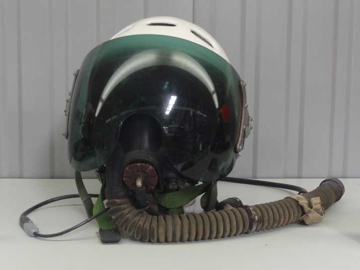 Soviet ZSh-3M Helmet with KM-32 oxygen mask was introduced in the 1960s and is still in use today