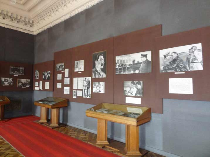 Photos and documents about Stalin's life displayed in one of the main halls of the Gori Stalin Museum