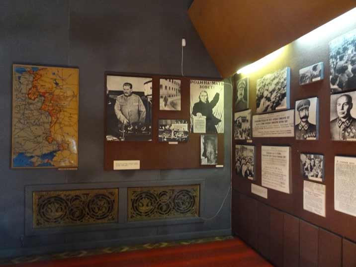 World War II photos and maps in a corner of the main exposition at the Stalin Memorial Museum in Gori