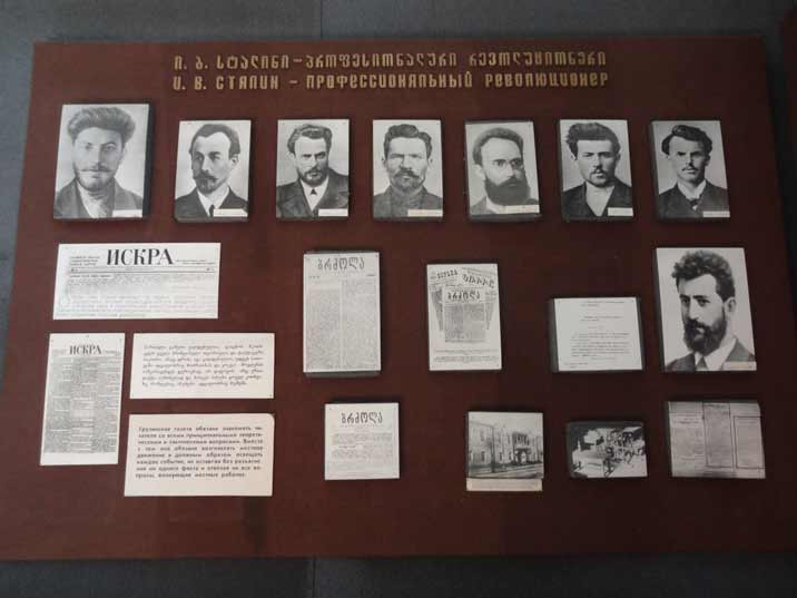 Photos and newspaper fragments relating to Stalin's pre revolutionary career as a Bank Robber