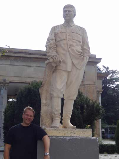 Comtourist editor posing in with a Stalin statue for the second time of his life, the first time was in Grutas Park