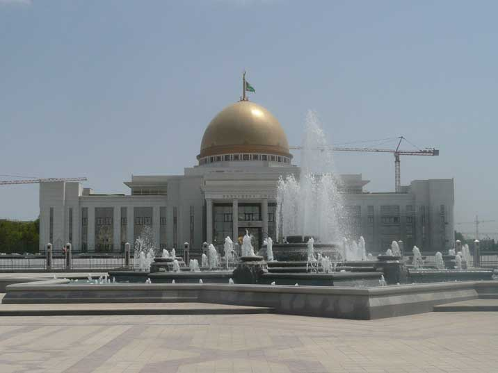 Gold domed Turkmenbasy palace the residence of the President