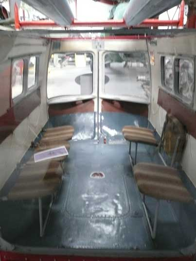 Interior of the interchangeable passengers cabin of the Ka-26