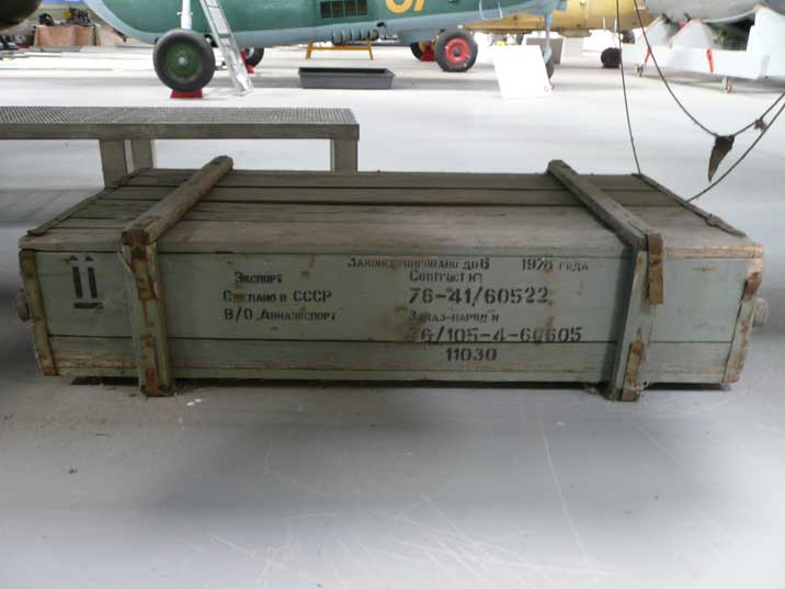 Ammunition crate for rockets with Russian text dated 1978