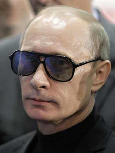 Putin wearing some classic shades and looking good