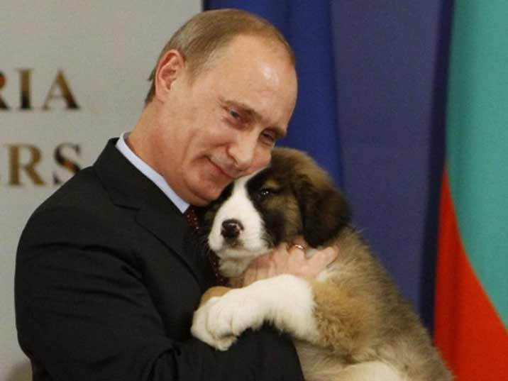 Putin with his new puppy dog clearly proving he is an animal lover