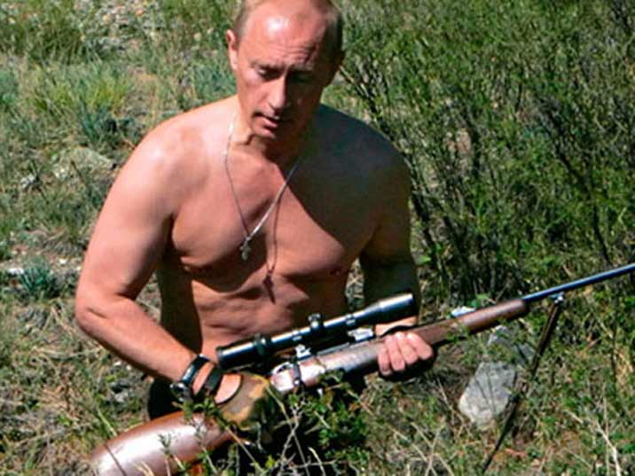 Putin hunting tigers bare chested on the Yenisey River in Siberia