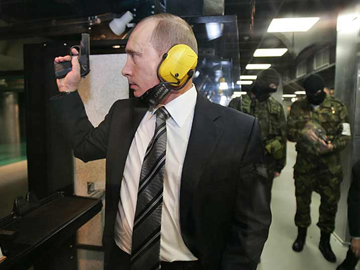 Putin taking shooting practice with the Russian special forces