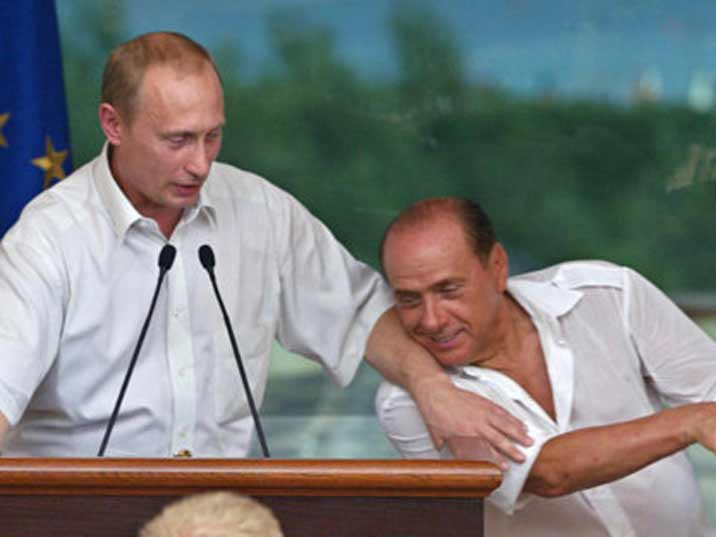 Putin with Italian president Berlusconi at work after a Bunga Bunga party at Berlusconi's place