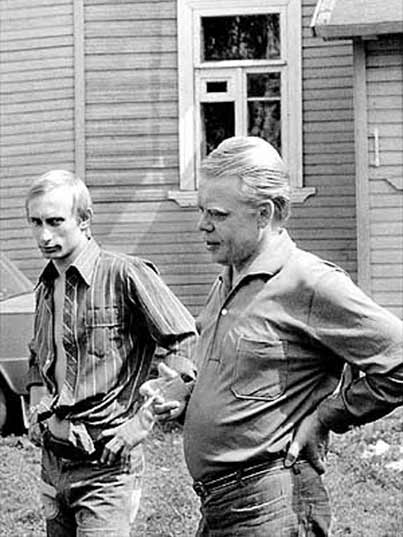 Putin with his shirt open during his younger years