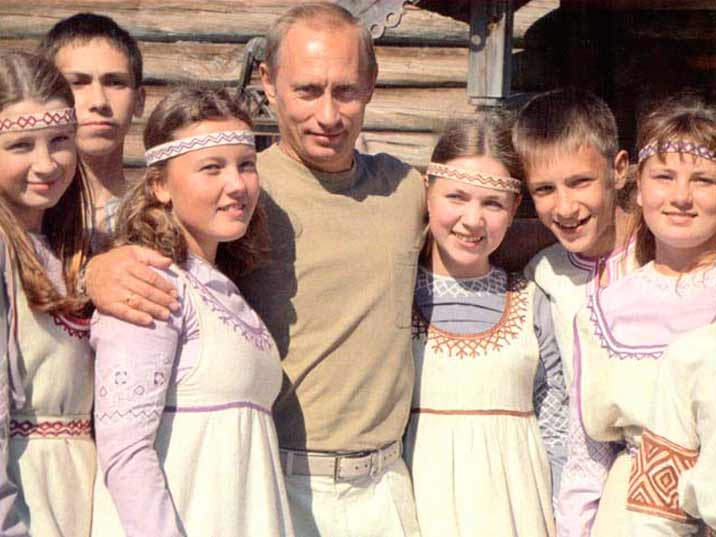 Putin with kids in traditional dress