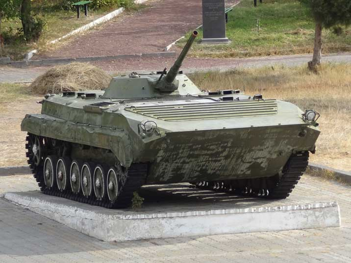 A BMP-1 amphibious tracked infantry fighting vehicle, over 20.000 were produced by the USSR between 1966 and 1982