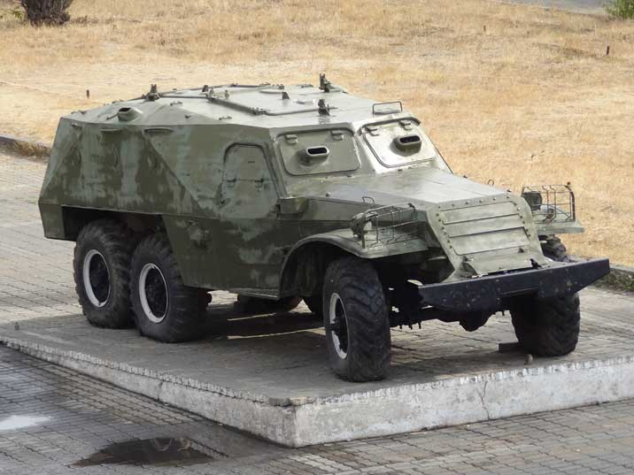 A BTR-152 armored personnel carrier that was used by the Soviet and Russian Army from 1950 to 1993