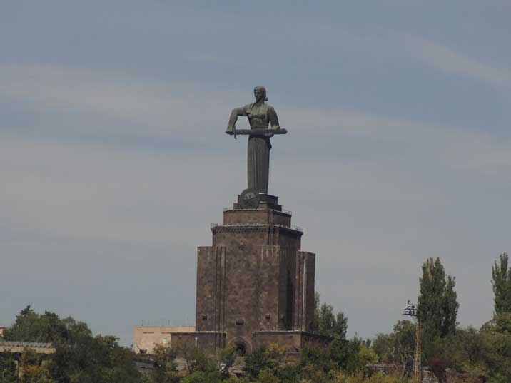 The Mother Armenia Monument in Yerevan Victory Park replaced a Stalin statue after his death in 1967