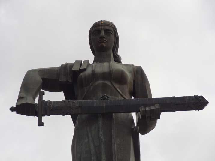 The Mother Armenia statue symbolizes peace through strength referring to woman from Armenian history and myths