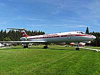 Flugausstellung L.+P. Junior in Hermeskeil Germany exhibits a large collection of Soviet airplanes and helicopters including a Tupolev Tu-134A