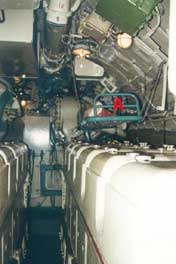 Batteries in the electrical engine room of the B-80 submarine