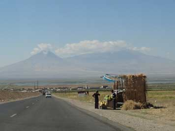 Mount Ararat, here seen from the highway to Yerevan is the symbol of Armenia but now lies in Turkish territory