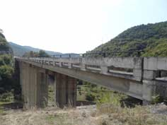 Concrete Soviet era road bridge on the famous Georgian Military Highway near the Zhinvali reservoir