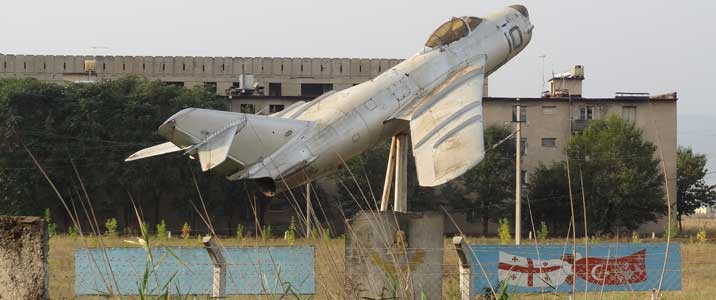 MiG-15 monument on the Marneuli air base that was bombed by the Russians in 2008 during the War in South Ossetia
