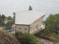 The famous House of Artists on lake Sevan seen from the top, this important landmark has now fallen in decay