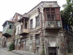 Houses in a very bad state in the Old Town of Tbilisi, restoration has been slowed down by the bad economy