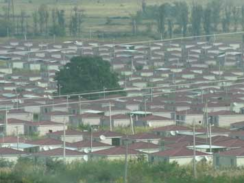 Temporary houses of the Tserovani refugee camp where Georgians who fled South Ossetia after the 2008 war now live