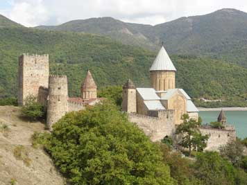 Ananuri castle on the Aragvi River build by the Dukes of Aragvi dynasty which ruled the area from the 13th century
