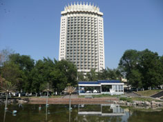 Hotel Kazakhstan was constructed in 1970 and can be considered an icon of Soviet Modernism