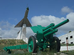 122 mm howitzer M1938 (M-30) used as part of the World War II monument in Karkaralinsk