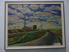 A socialist realist painting in the Karkaralinsk city museum depicting heavy industry