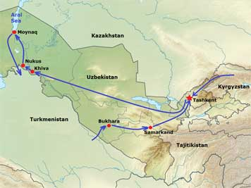 Map of Uzbekistan where we traveled from Tashkent, then Khiva and Nukus, then to the Aral Sea by 4x4 and finally to the Silk Road Bukhara Samarkand