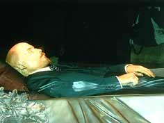 Lenin's embalmed body inside the sarcophagus of the mausoleum