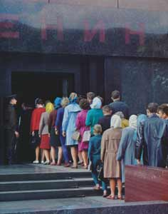 A queue of people waiting to enter the Lenin Mausoleum in 1968